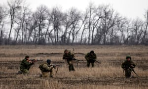Pro-Russian rebels practise shooting near the town of Debaltseve, north-east from Donetsk, 12 March, 2015.