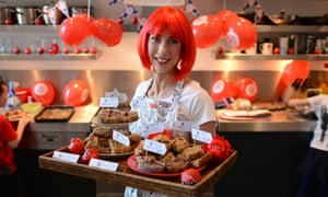 Samantha Cameron with a tray of cakes to be sold to staff at Downing Street to raise money for Red Nose Day