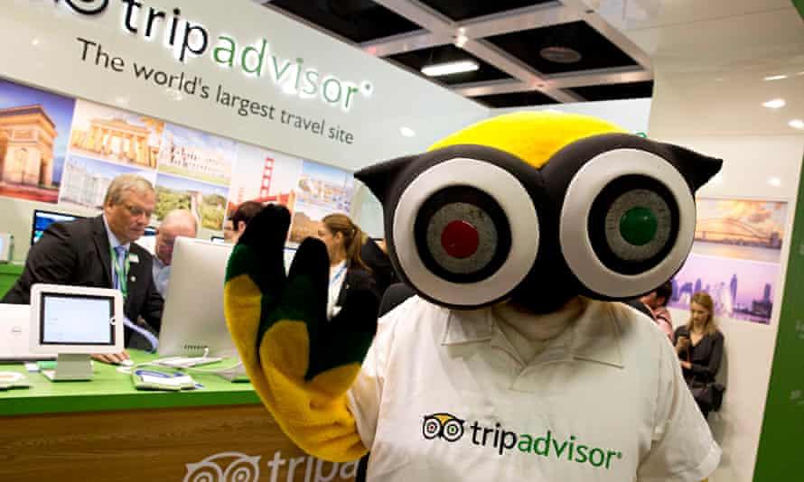 A mascot of tripadvisor at the International Tourism Trade Fair (ITB) in Berlin