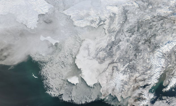 Melting sea ice off western Alaska, on February 4, 2014. Alaska lies to the east in this image, and Russia to the west. The Bering Strait, covered with ice, lies between to two. South of the Bering Strait, the waters are known as the Bering Sea. To the north lies the Chukchi Sea. Melting sea ice off western Alaska, on February 4, 2014