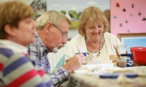 Participants at the Craft Caf, an arts course in Castlemilk, Glasgow, set up to combat social isolation in the elderly.