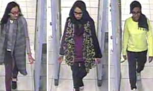 British schoolgirls Kadiza Sultana, 16, Shamima Begum and Amira Abase