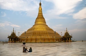 The Uppatasanti (Peace) Pagoda is a replica of the famous Shwedagon pagoda in Rangoon. Unlike the original, it is hollow.