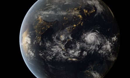 Typhoon Haiyan Typhoon Haiyan approaching the Philippines (13:00 UTC 07/11/2013). This is a composite image incorporating data captured by the geostationary satellites of the Japan Meteorological Agency (MTSat 2) and EUMETSAT (Meteosat-7), overlaying NASA's 'Black Marble' imagery.