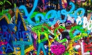 Graffiti on the 'John Lennon Wall' in Prague, Czech Republic.
