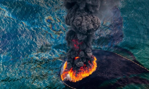 Oil spill fire