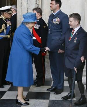 Queen Elizabeth II meets retired soldier Josh Campbell