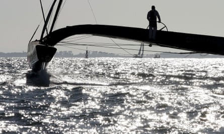 Team BMW Oracle gliding to victory in the 33rd America's Cup off the coast of Valencia.