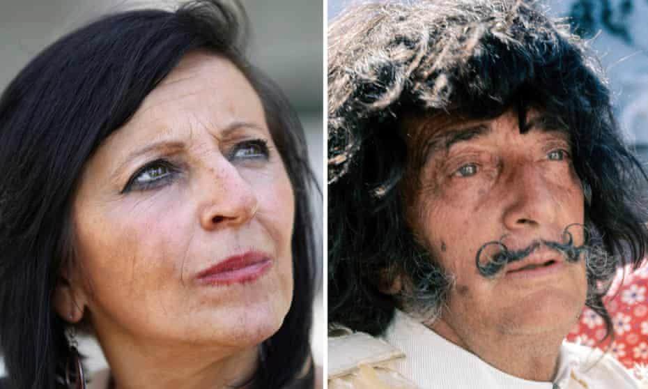 A composite image of Pilar Abel and Salvador Dali