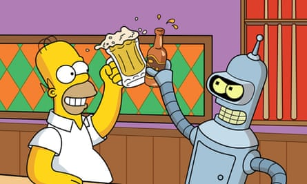 Homer Simpson and Bender share a beer