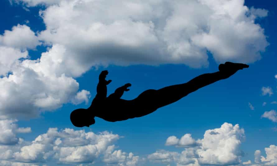 skydiver in silhouette
