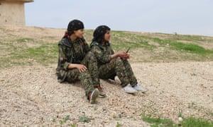 YPJ fighters near Qamishli, Syria.