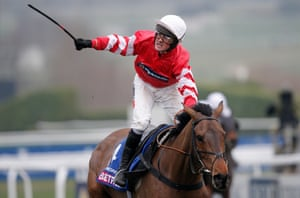 Nico de Boinville celebrates victory on Coneygree as they pass the winning post.