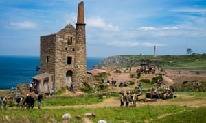 Filming Poldark at Wheal Owles, near Botallack in Cornwall.