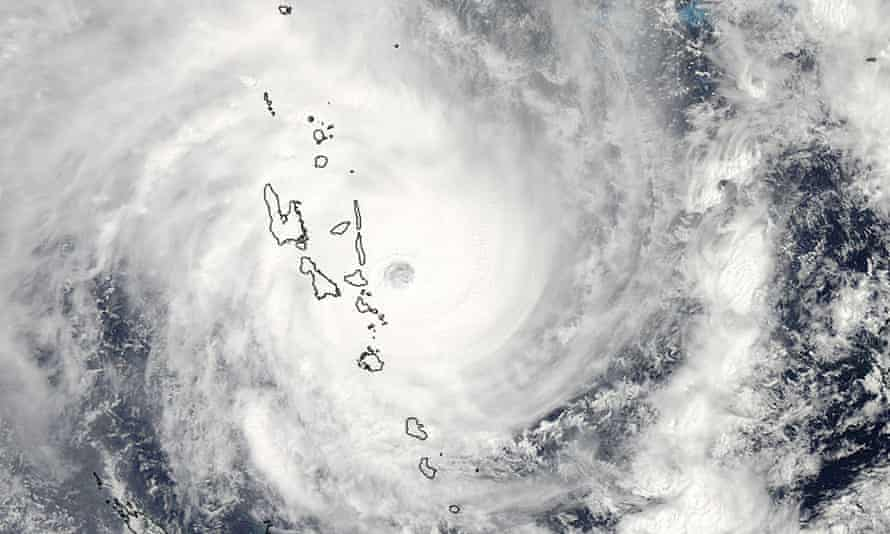 A Nasa satellite image of cyclone Pam shows the eye of the storm just east of Vanuatu.