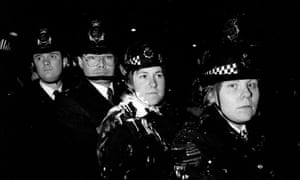 Police outside Lambeth town hall , south London, on 9 March 1990.