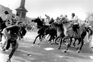 In Trafalgar Square, London, as the rally was drawing to a close, mounted police charged the crowd on 31 March 1990.