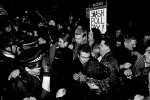 An anti-poll tax demonstration outside Hackney town hall, east London, on 8 March 1990.
