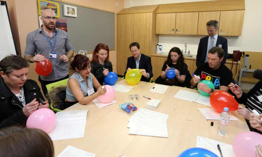 Liberal Democrat leader Nick Clegg takes part in a therapy session during a visit to Clock View hospital in Liverpool.