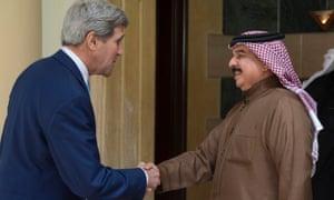 John Kerry and Bahrain's King Hamad bin Isa Al Khalifa