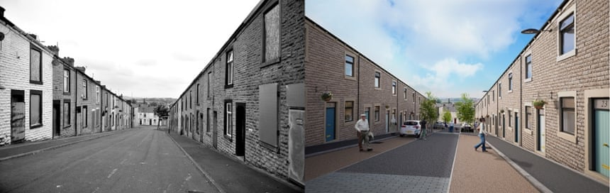 Terraced homes in Accrington, Lancashire, before and as it is expected to look after a renovation by PlaceFirst.