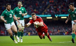 Wales' Scott Williams scores a try against Ireland.
