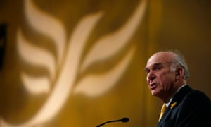 Vince Cable addressing the Lib Dem conference