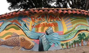 'Living Rivers, Free Peoples': a mural in La Jagua, Huila, one of the municipalities most affected by the El Quimbo dam project on Colombia's River Magdalena.