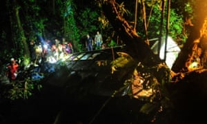 Firefighters working at the scene of a bus accident in Campo Alegre, state of Santa Catarina, southern Brazil.