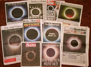 Front pages of British national daily newspapers on 12 August 1999, showing photographs of the total eclipse