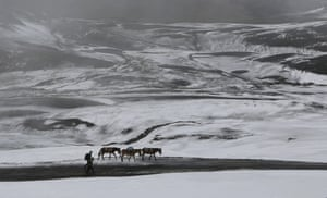 Farmers walk with donkeys on  snow-covered road
