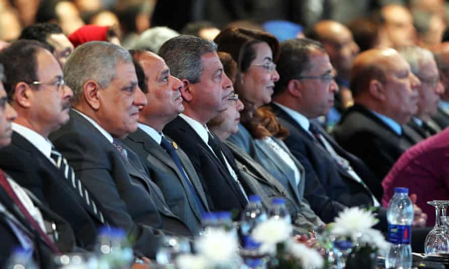 Ibrahim Mahlab, Egyptian prime minister, second from left,  among delegates at the Egypt Economic Development Conference at Sharm El-Sheikh.