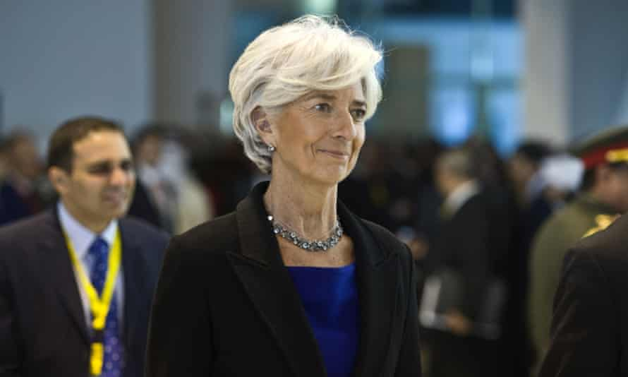 Christine Lagarde, managing director of the International Monetary Fund arrives for the Egyptian Economic Development conference.