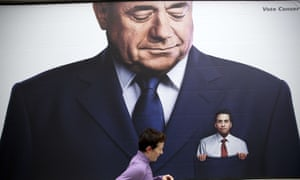 A recent Conservative party poster which depicts Labour party leader Ed Miliband in the pocket of former Scottish first minister Alex Salmond. Labour are expected to rule out a coalition with the Scottish party.