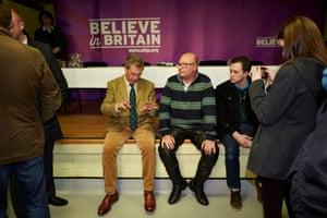 Nigel Farage talks with Sandwich locals at a community centre where he gave an address.