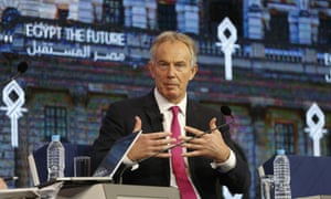 Tony Blair at an economic conference in Sharm el-Sheikh, Egypt