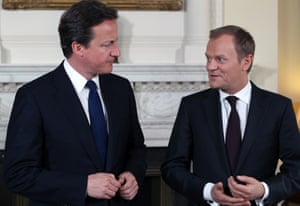 David Cameron meets Donald Tusk, who took over the presidency of the European council in December