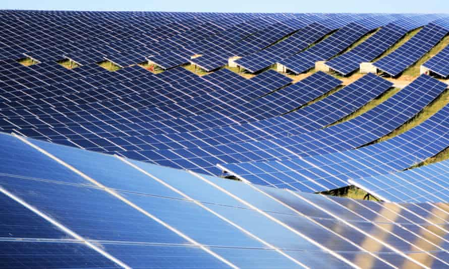 A solar farm in France. 'There is no prosperous high carbon economy,' said Mark Kenber of the Climate Group