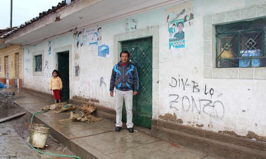 Saul Luciano Lliuya outside his home in Huaraz, in Peru's Ancash region.