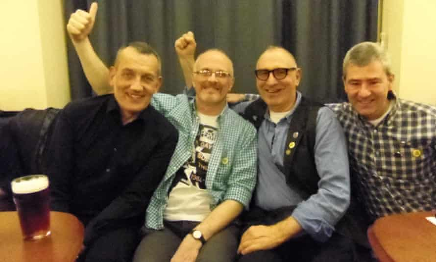 Members of the original LGSM group: Dave Lewis, Ray Goodspeed, Jonathan Blake (played in the movie by Dominic West) and Brett Haran