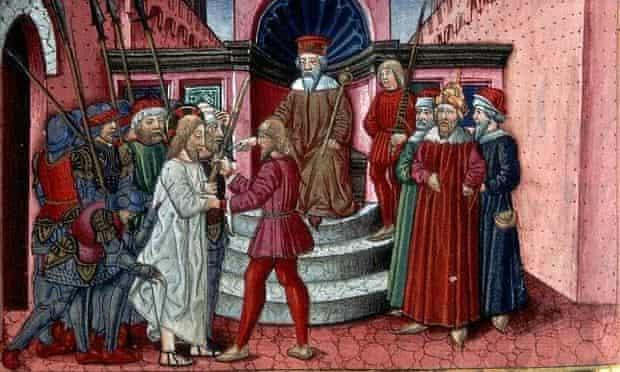 Herod Interrogating Christ by Cristoforo de Predis. From the Predis Codex.