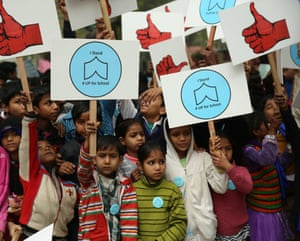Students support the Up For School campaign in Delhi
