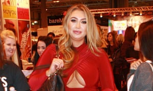 Lauren Goodger, known for appearances on The Only Way Is Essex and Celebrity Big Brother, wearing a dress featuring underboob and sideboob