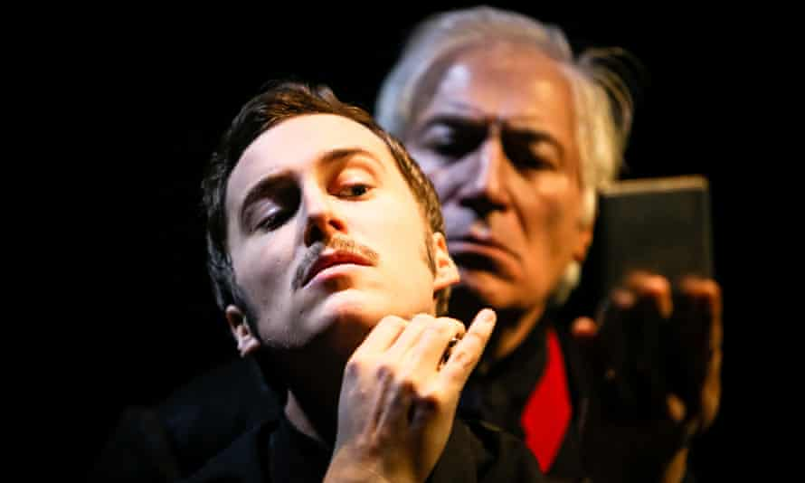 Isaac Stanmore as Jonathan Harker (front) and Jack Klaff as Dracula.