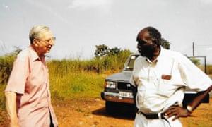 John Hargreaves, left, on a road trip with Professor Daniel Chaytor of Sierra Leone University in 2003