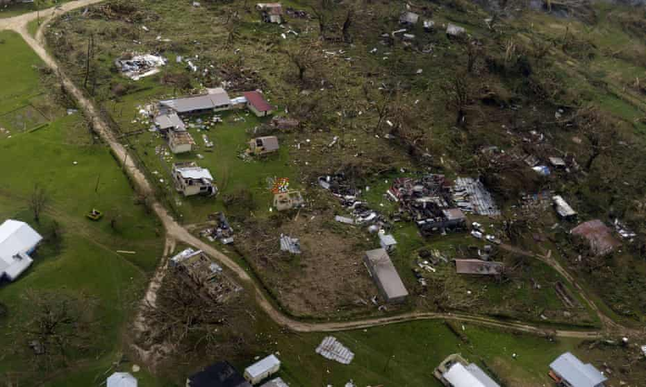 An aerial image above the suburbs of Port Vila shows damages inflicted to buildings in Vanuatu by cyclone Pam.