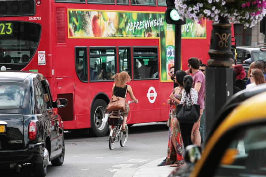 Cycling in London.