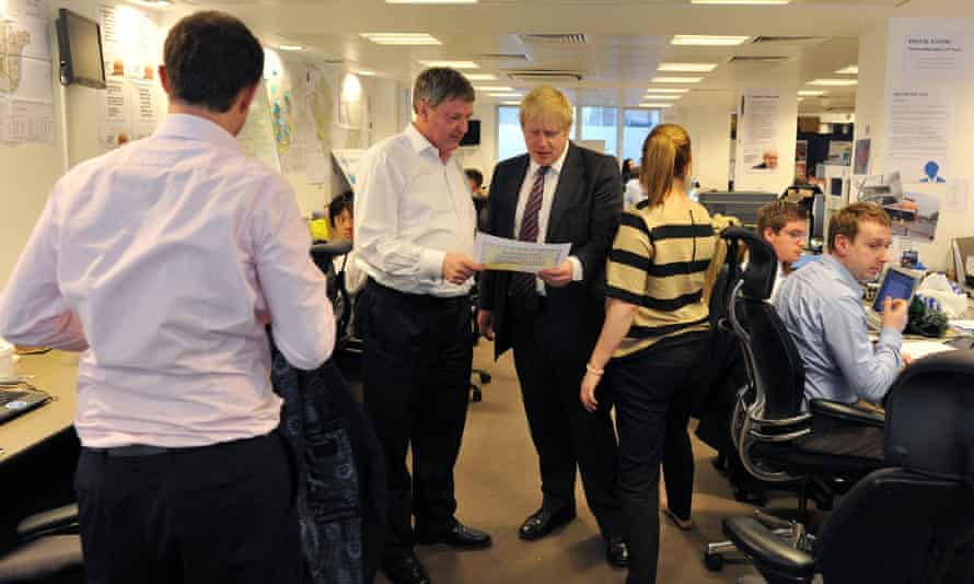 Lynton Crosby with Boris Johnson during the 2012 London mayoral campaign.