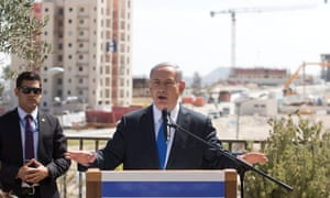 Binyamin Netanyahu chose Har Homa settlement in occupied east Jerusalem to hold a press conference on Monday.