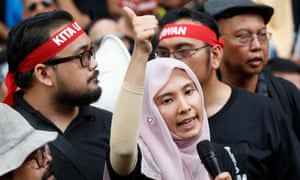Nurul Izzah Anwar, vice president of the People's Justice party and daughter of jailed Malaysian opposition leader Anwar Ibrahim, speaks a rally in Kuala Lumpur protesting against his imprisonment.